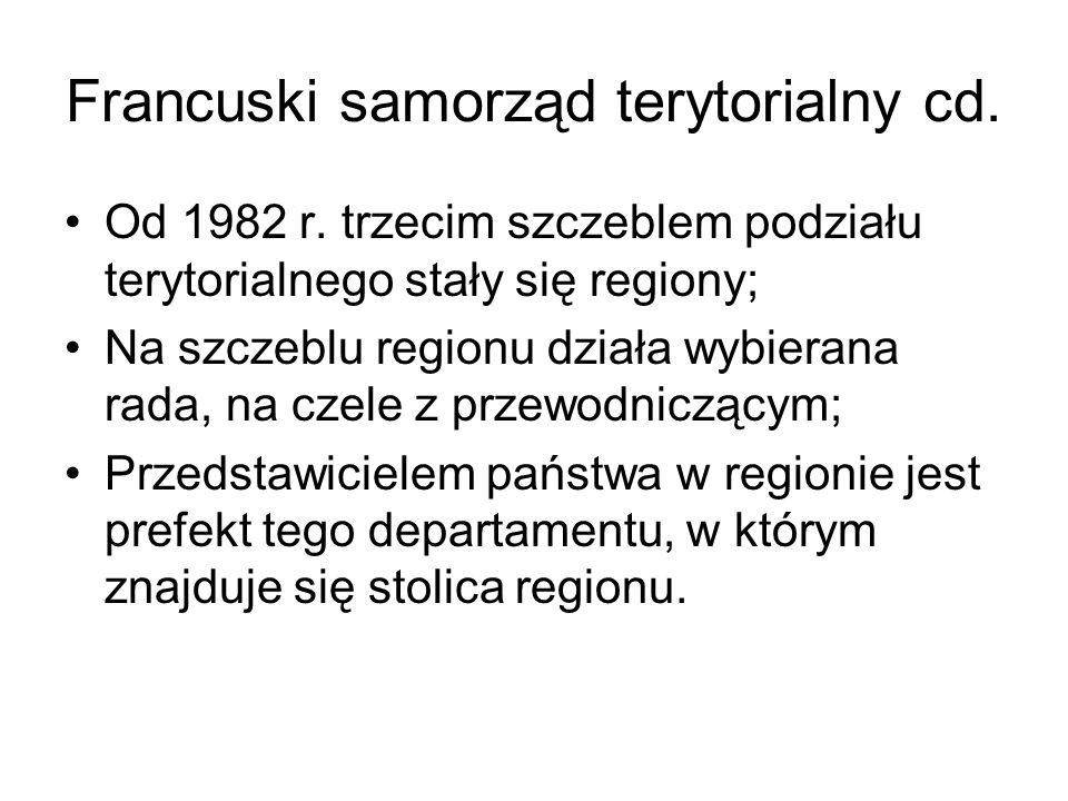 Francuski samorząd terytorialny cd.