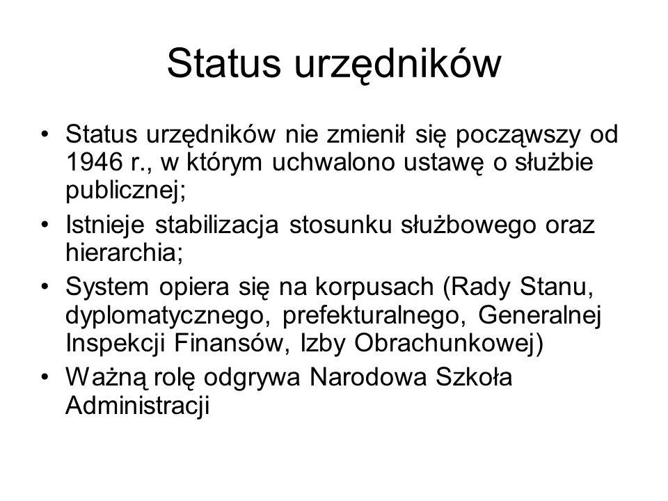Status urzędników Status urzędników nie zmienił się począwszy od 1946 r., w którym uchwalono ustawę o służbie publicznej;