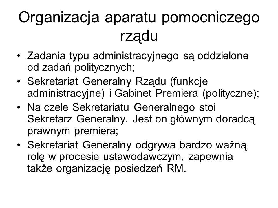 Organizacja aparatu pomocniczego rządu