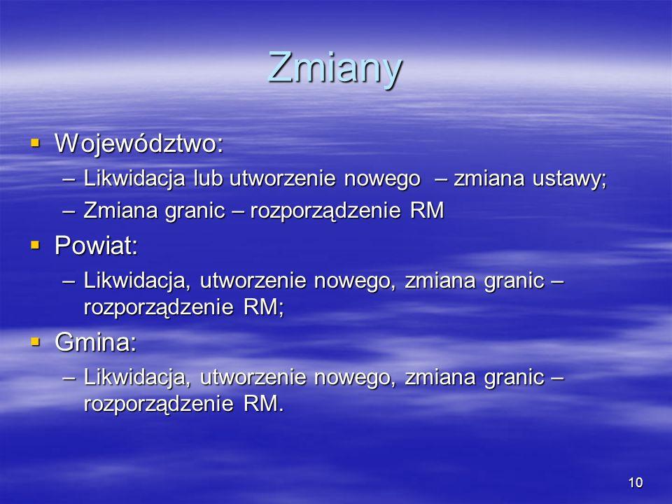 Zmiany Województwo: Powiat: Gmina: