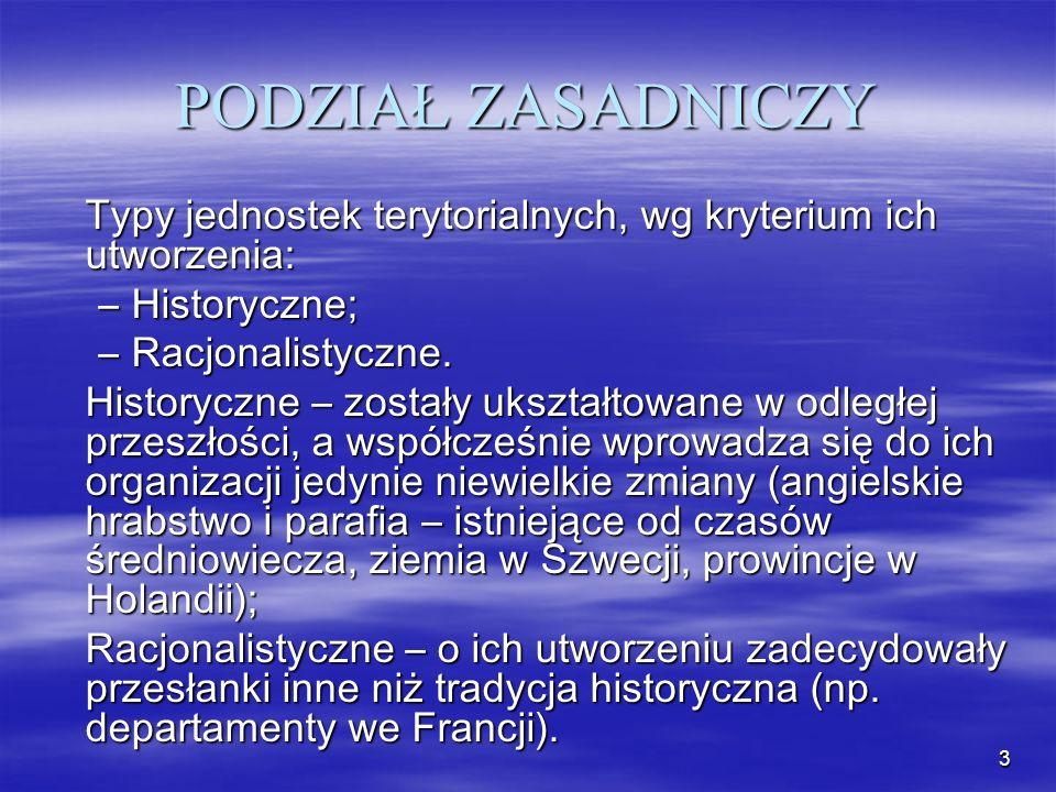 PODZIAŁ ZASADNICZY Typy jednostek terytorialnych, wg kryterium ich utworzenia: Historyczne; Racjonalistyczne.