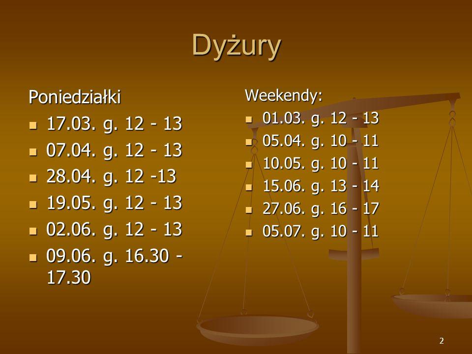 Dyżury Poniedziałki 17.03. g. 12 - 13 07.04. g. 12 - 13