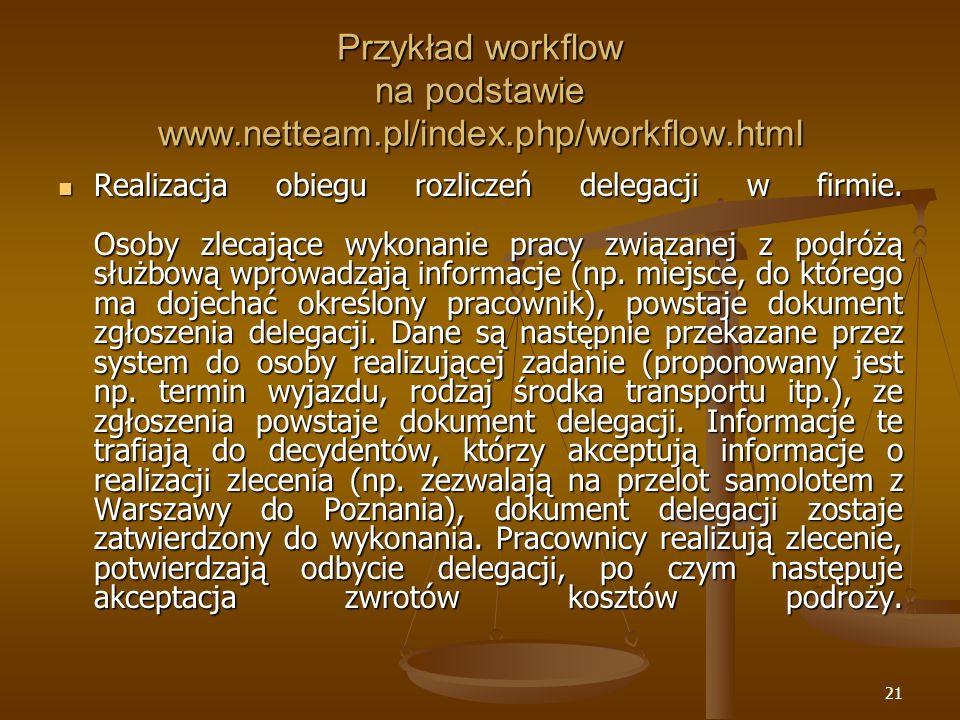 Przykład workflow na podstawie www.netteam.pl/index.php/workflow.html