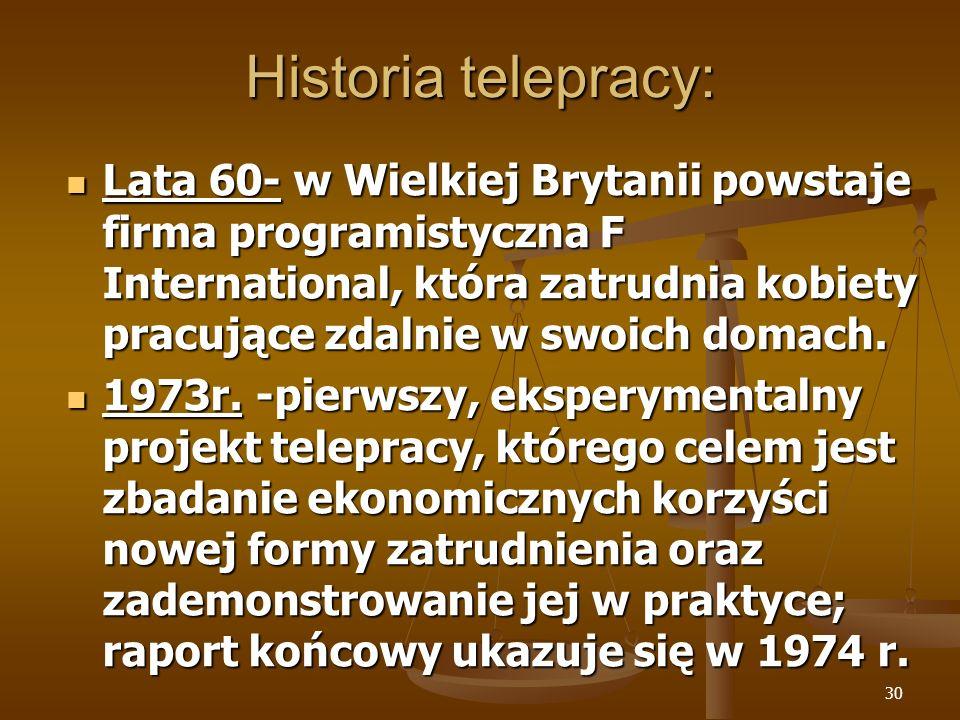 Historia telepracy:
