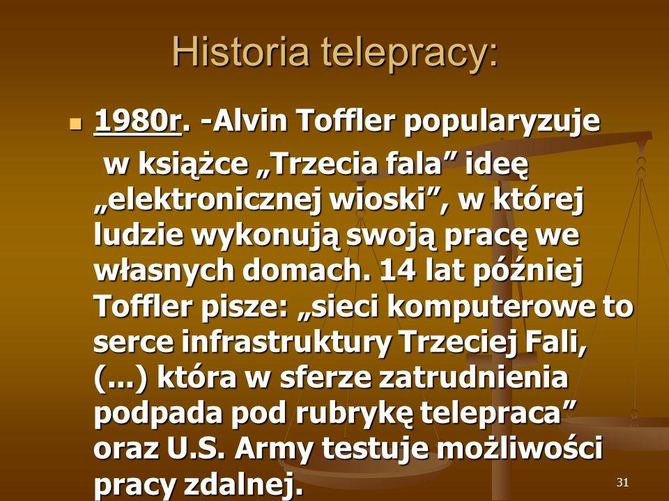 Historia telepracy: 1980r. -Alvin Toffler popularyzuje