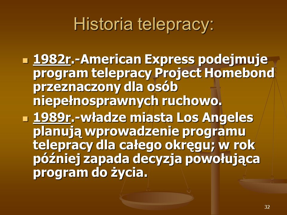Historia telepracy: 1982r.-American Express podejmuje program telepracy Project Homebond przeznaczony dla osób niepełnosprawnych ruchowo.