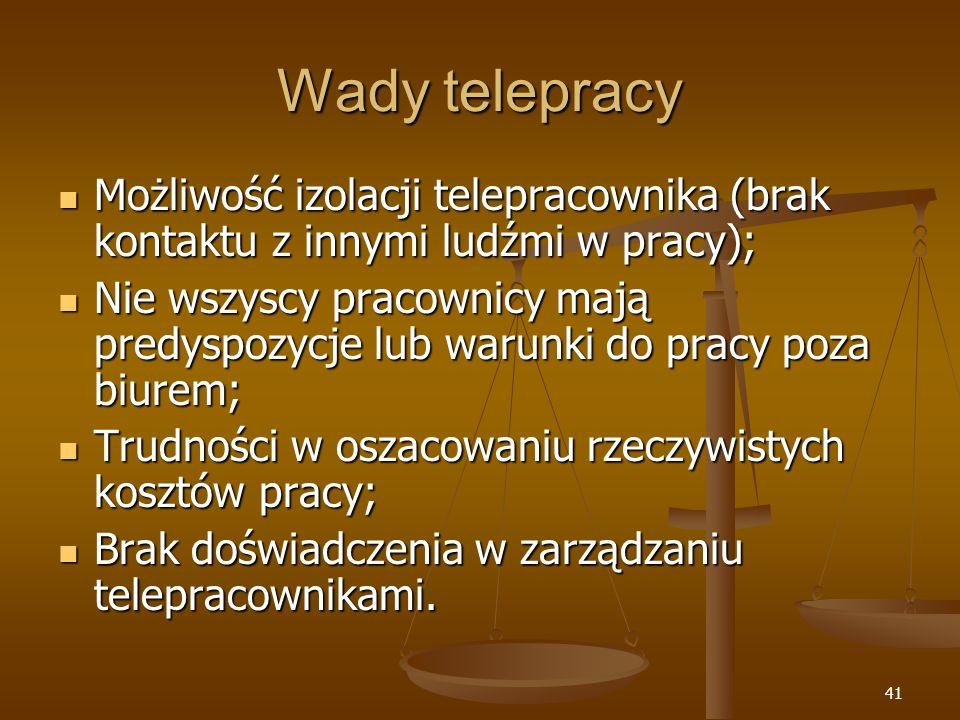 Wady telepracy Możliwość izolacji telepracownika (brak kontaktu z innymi ludźmi w pracy);