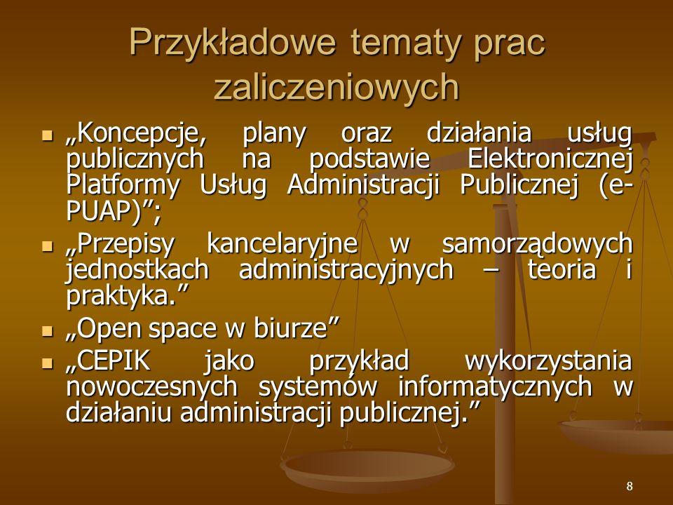 Przykładowe tematy prac zaliczeniowych
