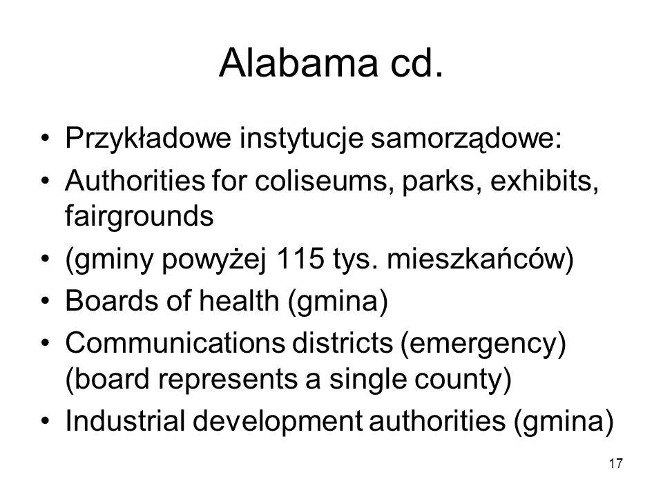 Alabama cd. Przykładowe instytucje samorządowe: