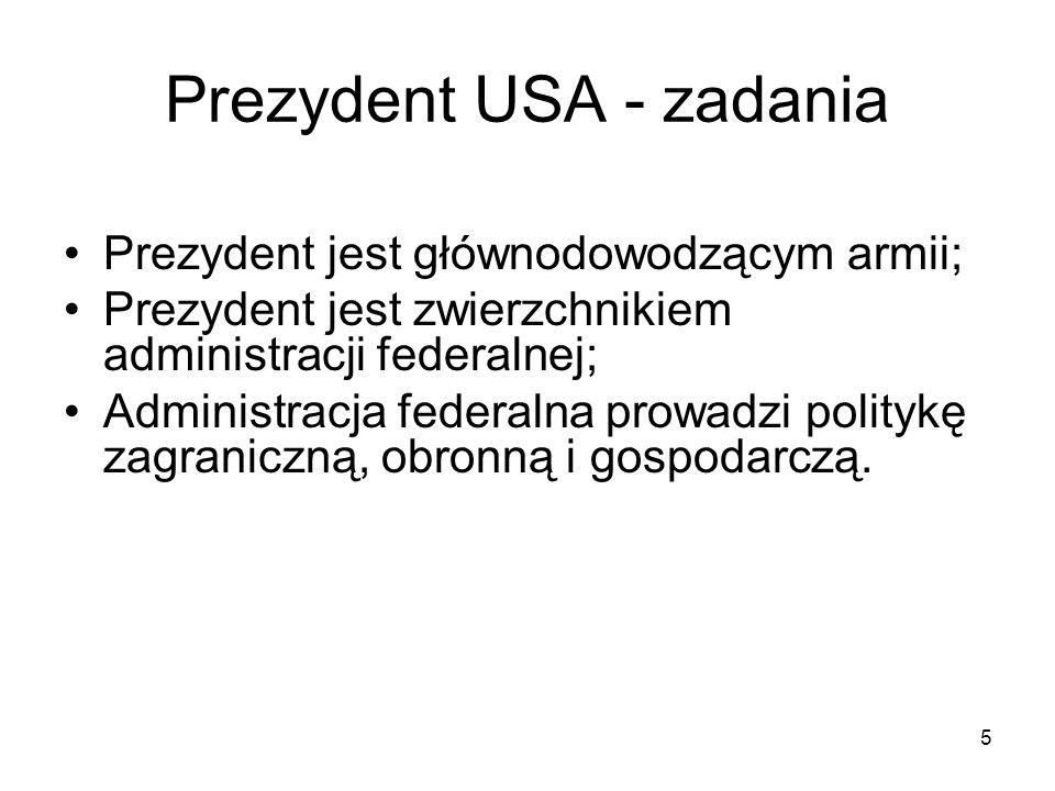 Prezydent USA - zadania