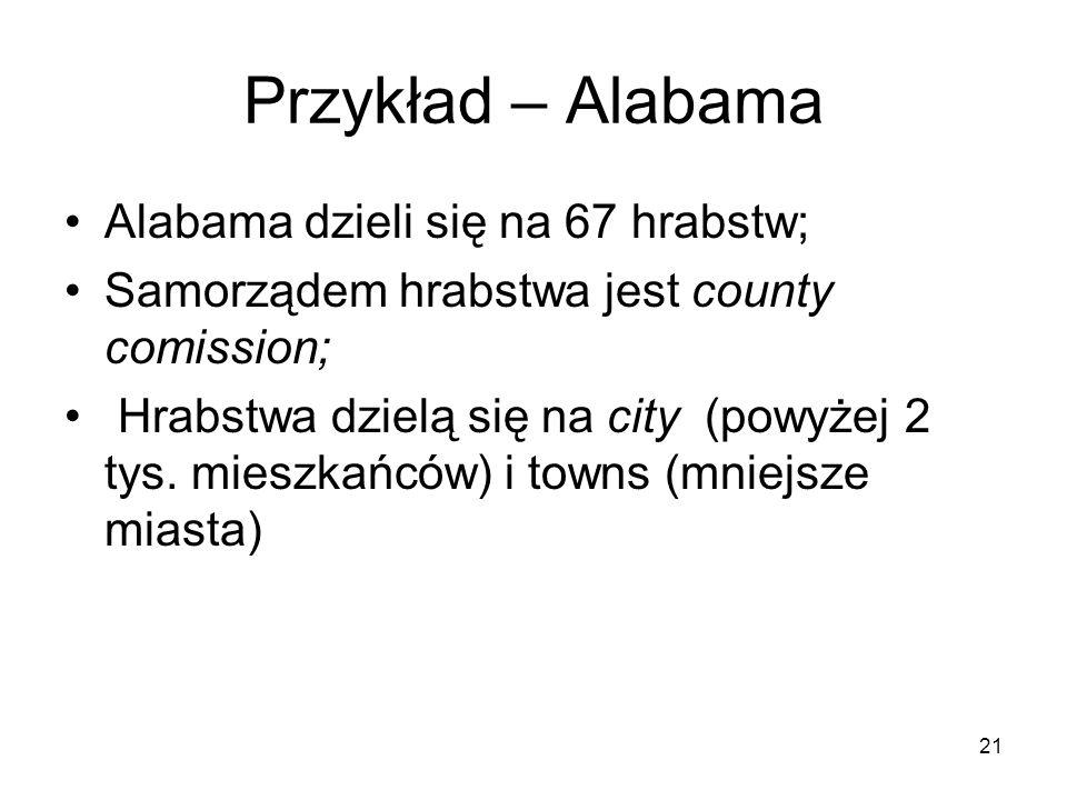 Przykład – Alabama Alabama dzieli się na 67 hrabstw;