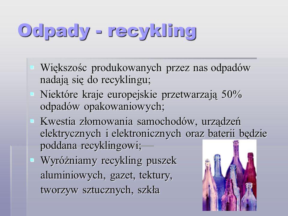 Odpady - recykling Większośc produkowanych przez nas odpadów nadają się do recyklingu;