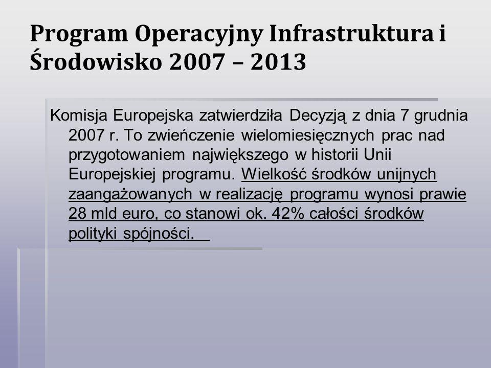 Program Operacyjny Infrastruktura i Środowisko 2007 – 2013