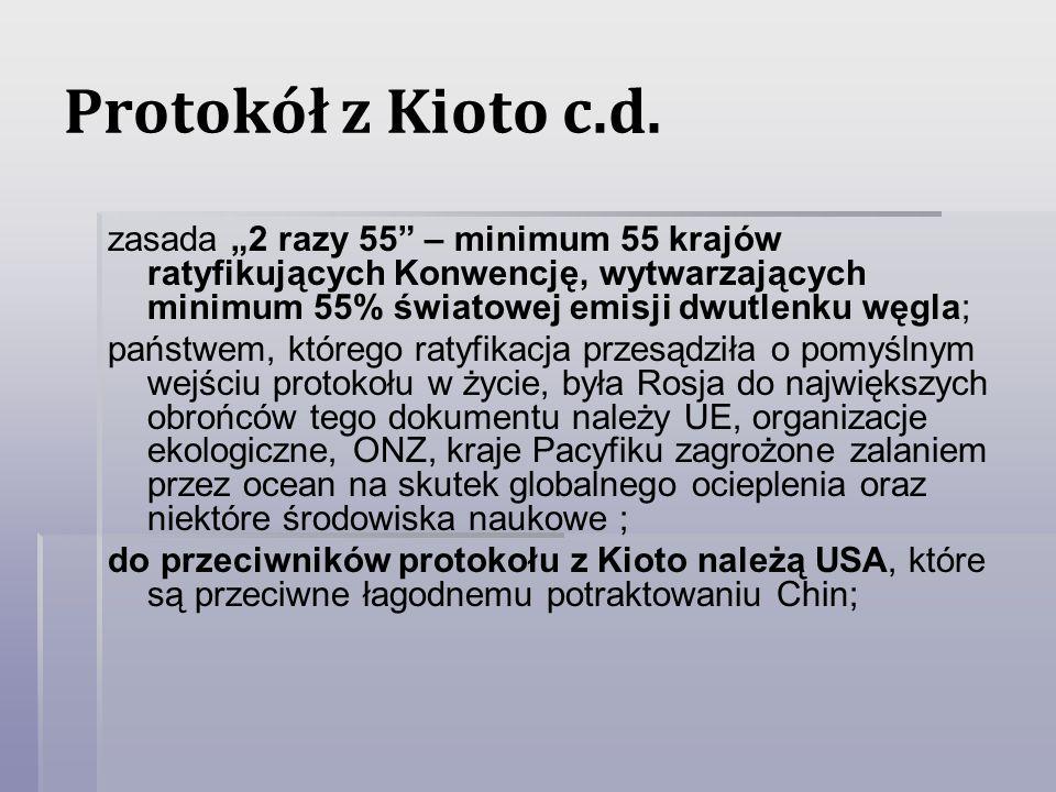"""Protokół z Kioto c.d. zasada """"2 razy 55 – minimum 55 krajów ratyfikujących Konwencję, wytwarzających minimum 55% światowej emisji dwutlenku węgla;"""
