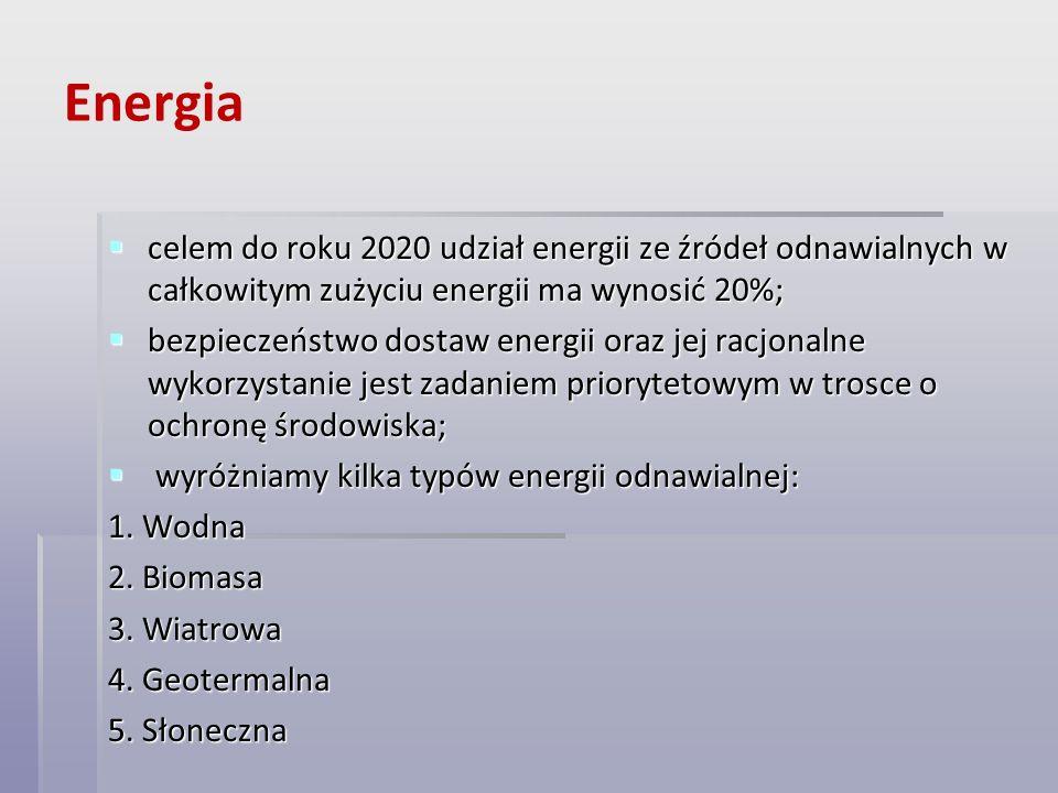Energia celem do roku 2020 udział energii ze źródeł odnawialnych w całkowitym zużyciu energii ma wynosić 20%;