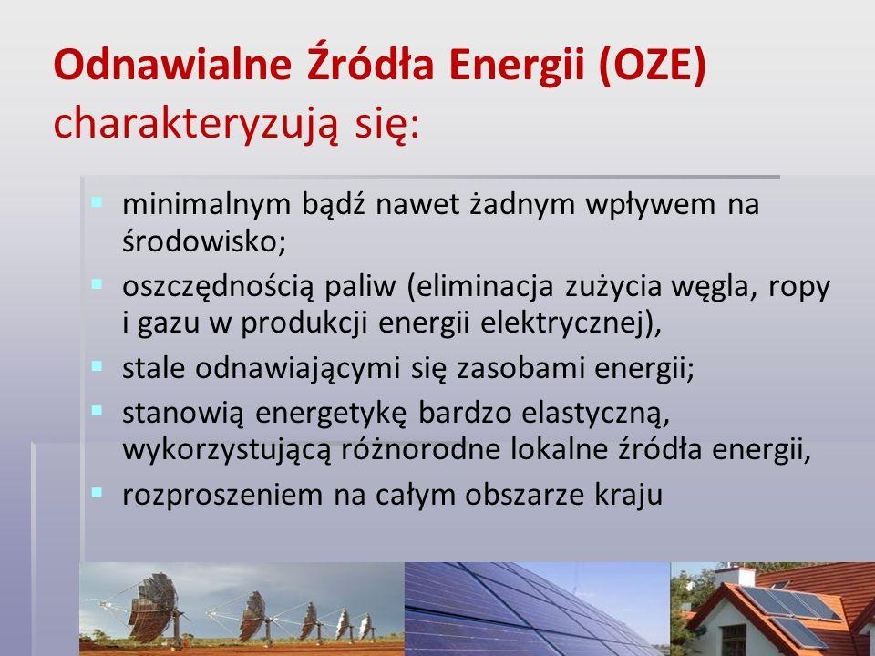 Odnawialne Źródła Energii (OZE) charakteryzują się: