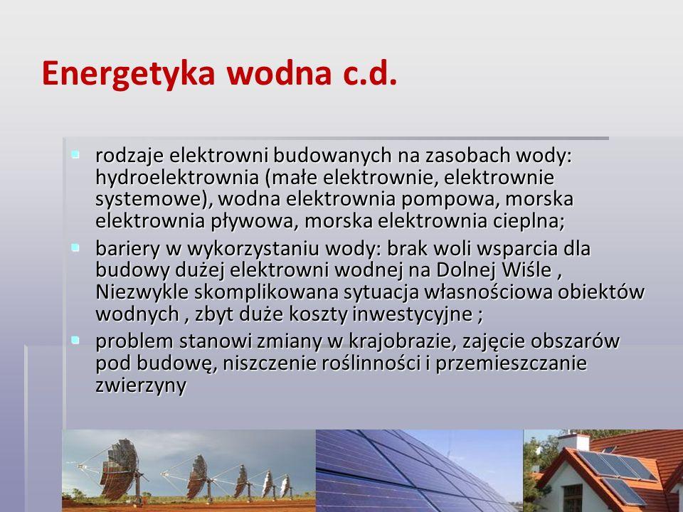 Energetyka wodna c.d.