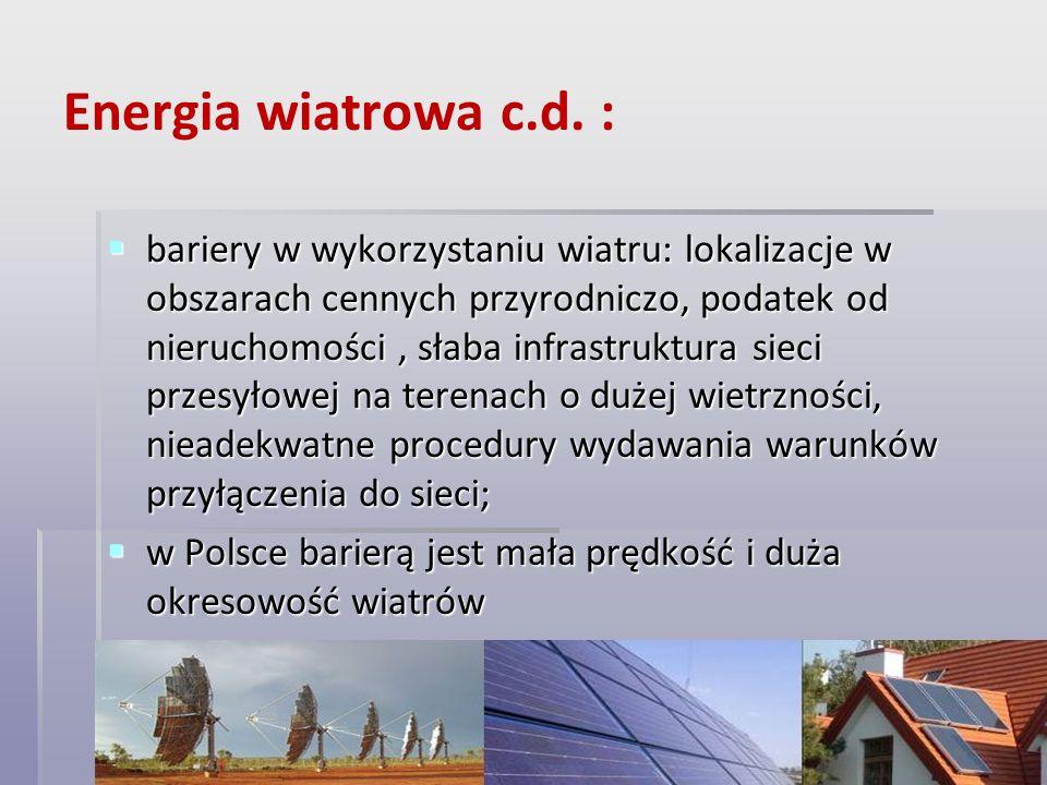 Energia wiatrowa c.d. :