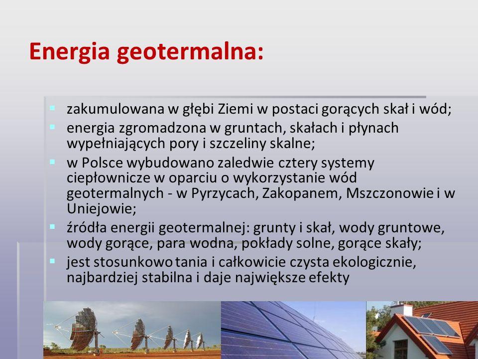 Energia geotermalna: zakumulowana w głębi Ziemi w postaci gorących skał i wód;