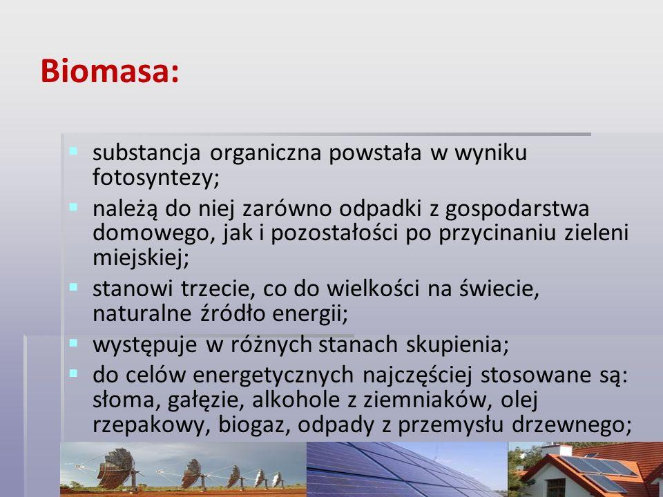 Biomasa: substancja organiczna powstała w wyniku fotosyntezy;