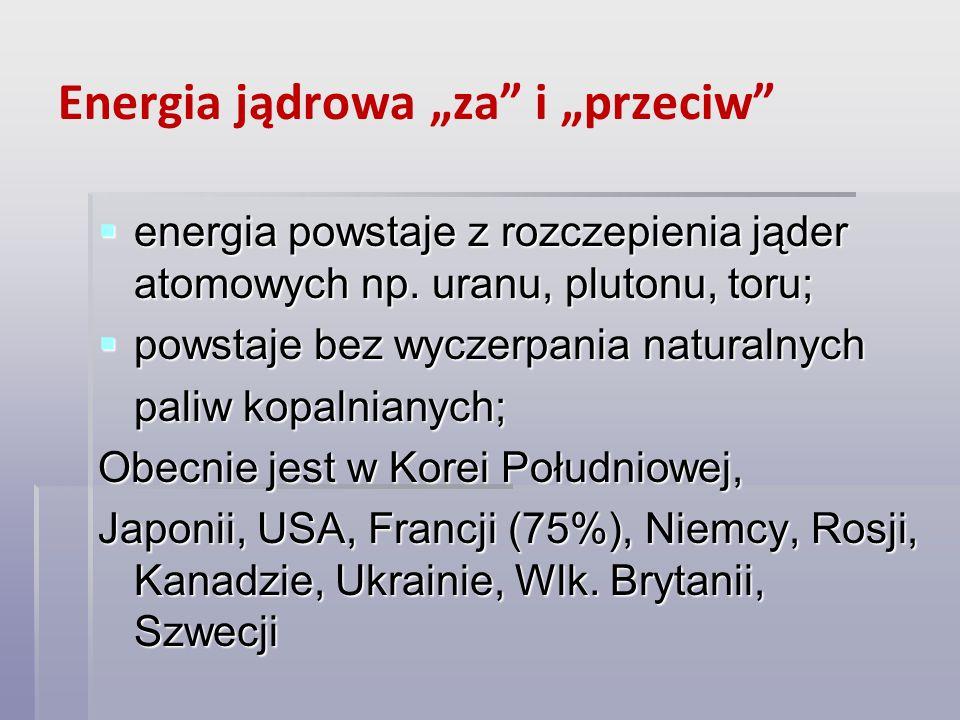 """Energia jądrowa """"za i """"przeciw"""