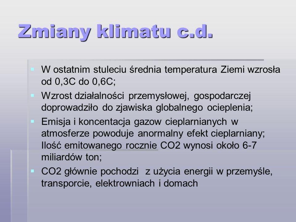 Zmiany klimatu c.d. W ostatnim stuleciu średnia temperatura Ziemi wzrosła od 0,3C do 0,6C;