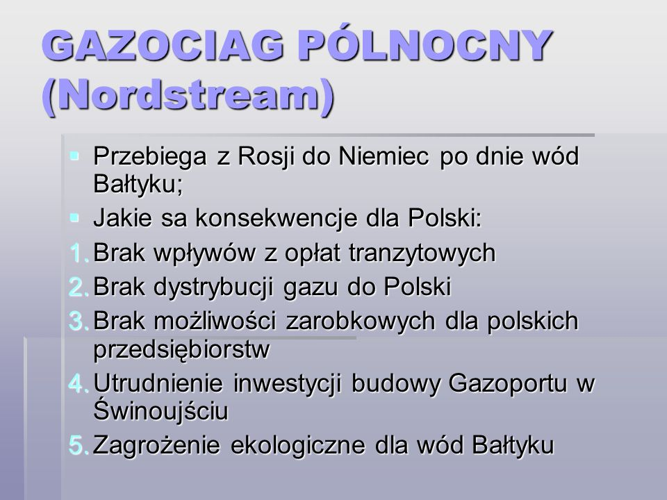 GAZOCIAG PÓLNOCNY (Nordstream)