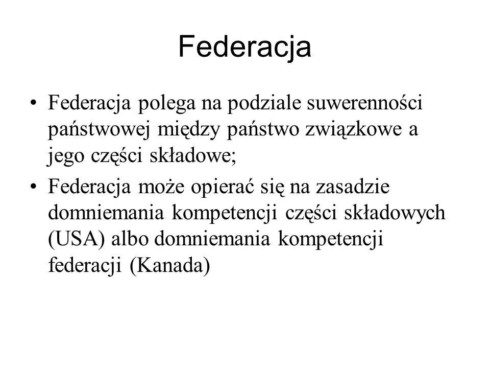 Federacja Federacja polega na podziale suwerenności państwowej między państwo związkowe a jego części składowe;