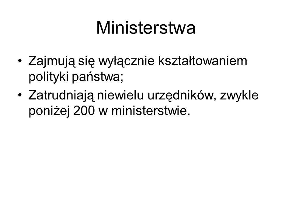 Ministerstwa Zajmują się wyłącznie kształtowaniem polityki państwa;