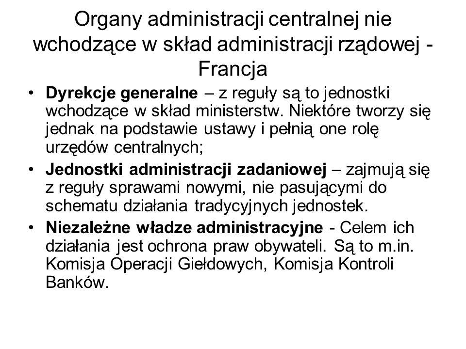 Organy administracji centralnej nie wchodzące w skład administracji rządowej - Francja