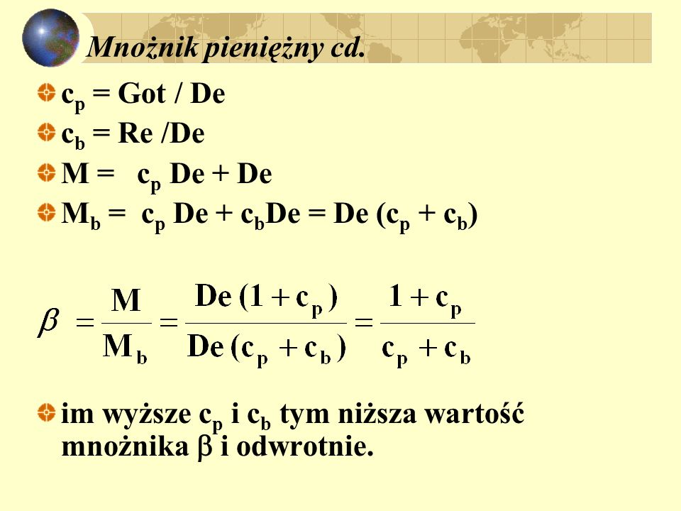 Mnożnik pieniężny cd. cp = Got / De. cb = Re /De. M = cp De + De. Mb = cp De + cbDe = De (cp + cb)