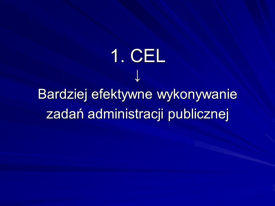1. CEL ↓ Bardziej efektywne wykonywanie zadań administracji publicznej