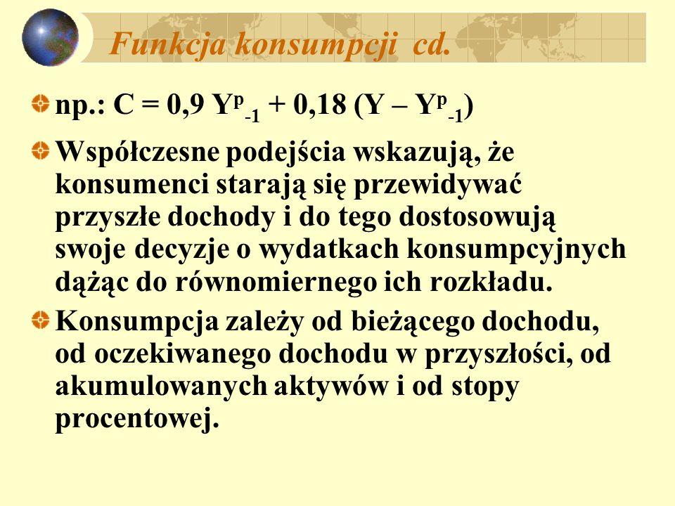 Funkcja konsumpcji cd. np.: C = 0,9 Yp-1 + 0,18 (Y – Yp-1)