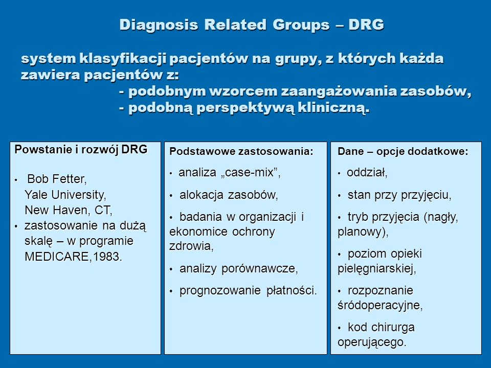 Diagnosis Related Groups – DRG system klasyfikacji pacjentów na grupy, z których każda zawiera pacjentów z: - podobnym wzorcem zaangażowania zasobów, - podobną perspektywą kliniczną.