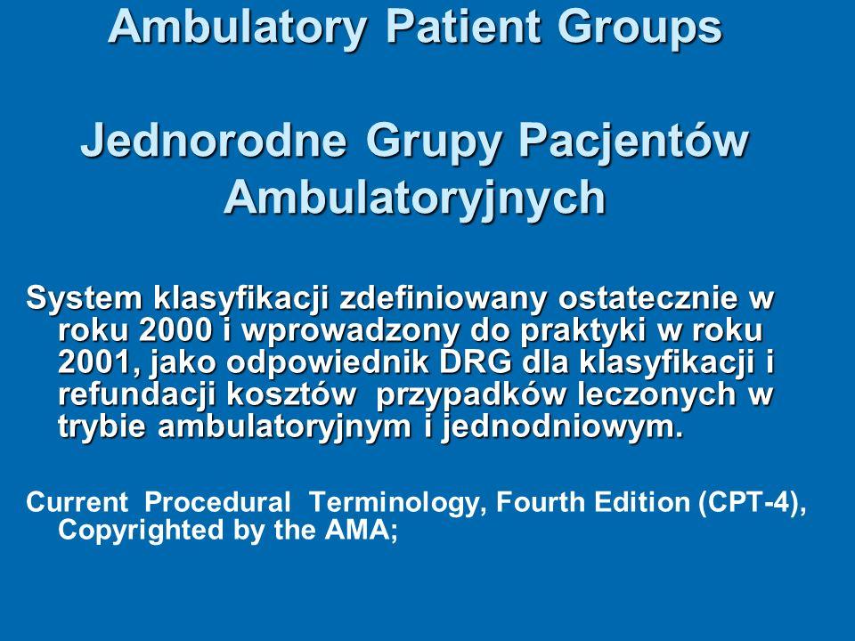 Ambulatory Patient Groups Jednorodne Grupy Pacjentów Ambulatoryjnych