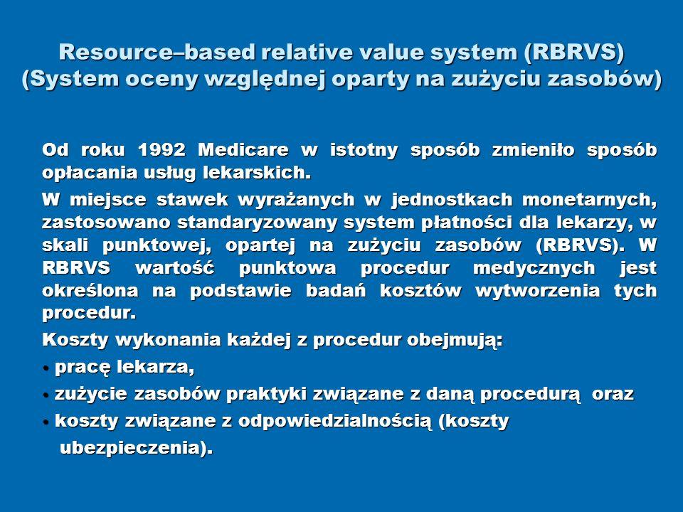 Resource–based relative value system (RBRVS) (System oceny względnej oparty na zużyciu zasobów)