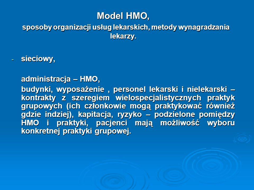 Model HMO, sposoby organizacji usług lekarskich, metody wynagradzania lekarzy.