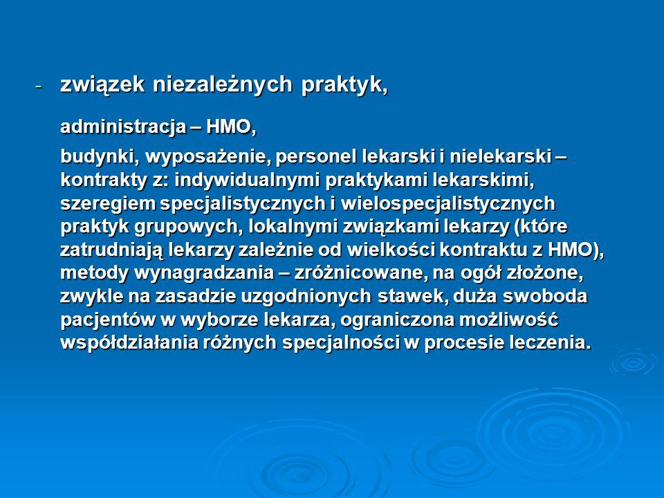 administracja – HMO, związek niezależnych praktyk,