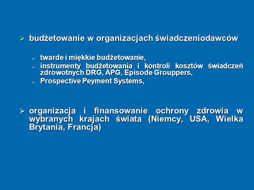 budżetowanie w organizacjach świadczeniodawców