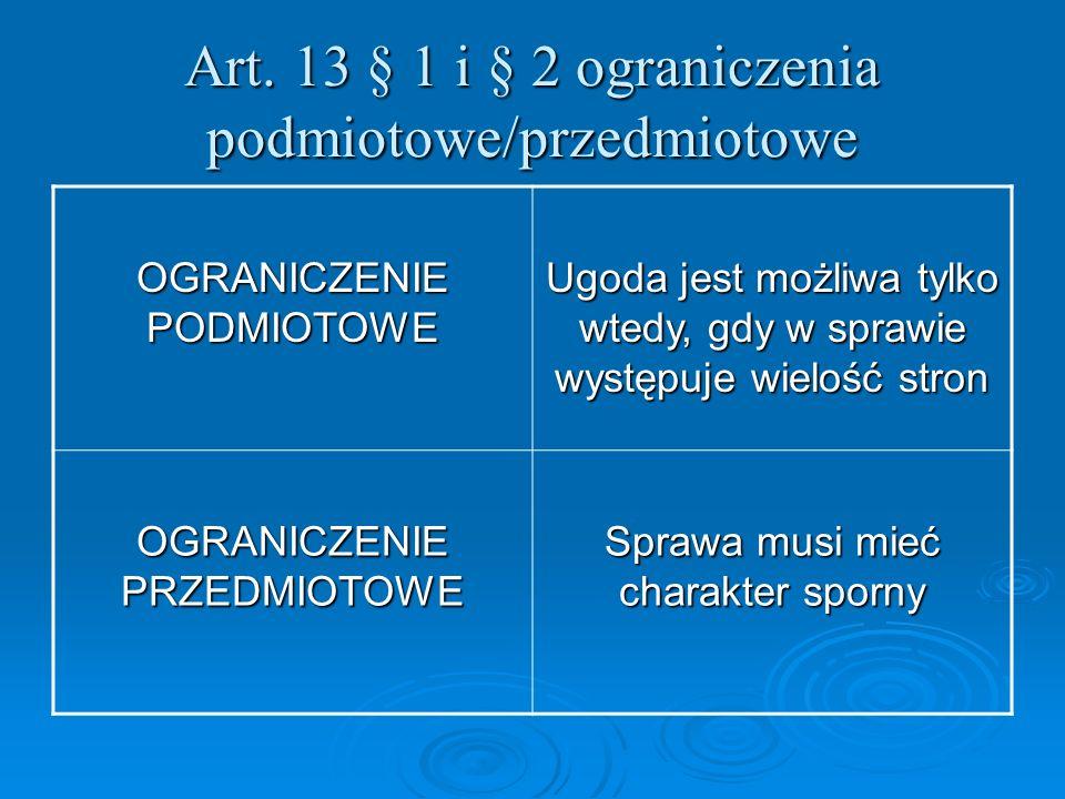 Art. 13 § 1 i § 2 ograniczenia podmiotowe/przedmiotowe