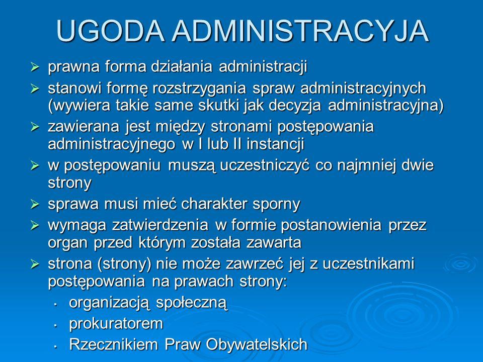 UGODA ADMINISTRACYJA prawna forma działania administracji