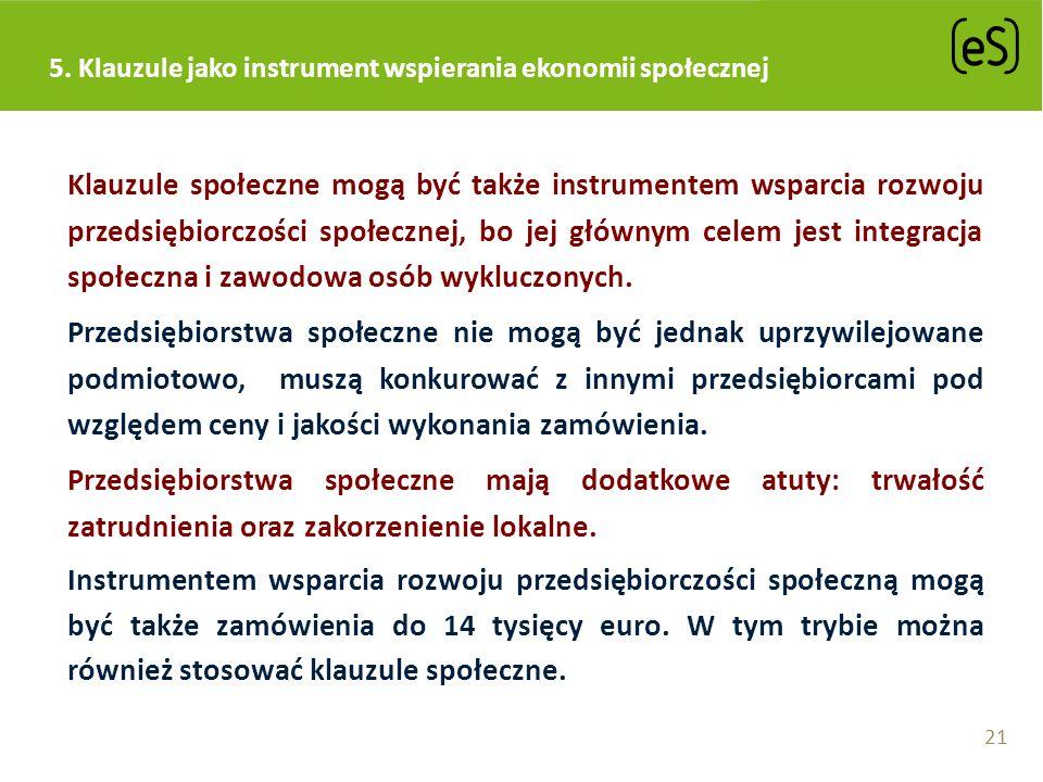 5. Klauzule jako instrument wspierania ekonomii społecznej