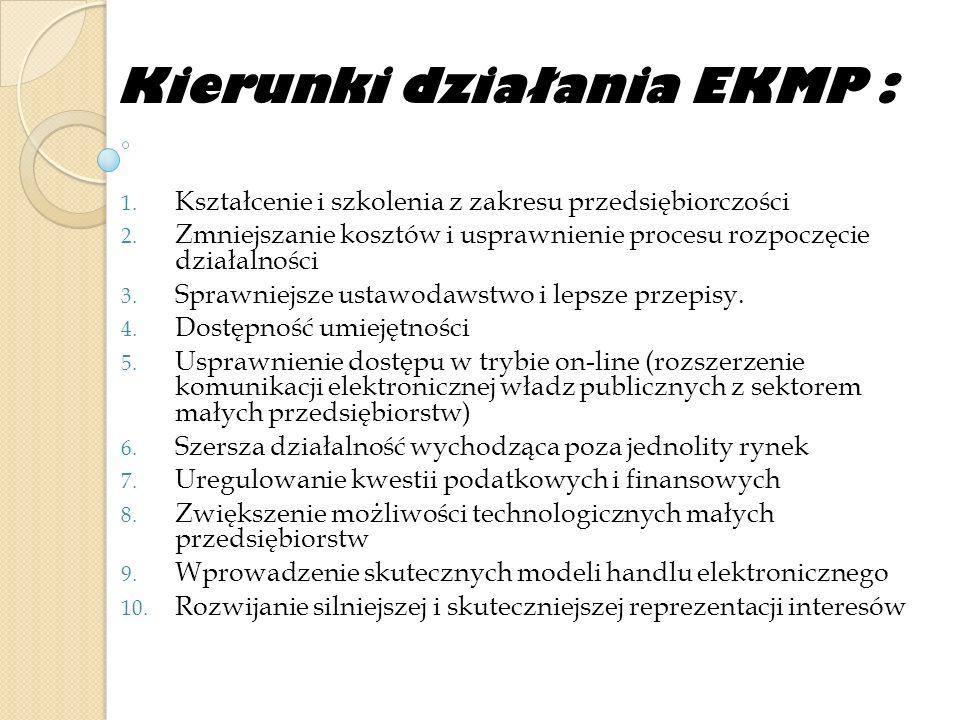 Kierunki działania EKMP :