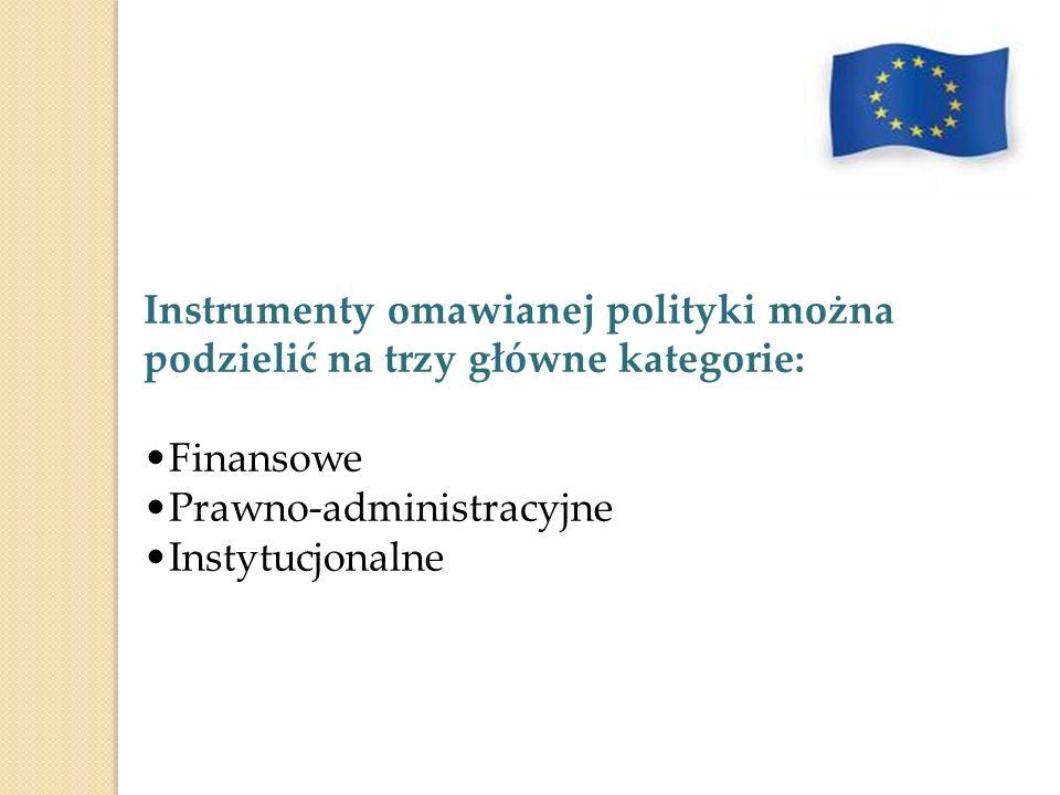 Instrumenty omawianej polityki można podzielić na trzy główne kategorie:
