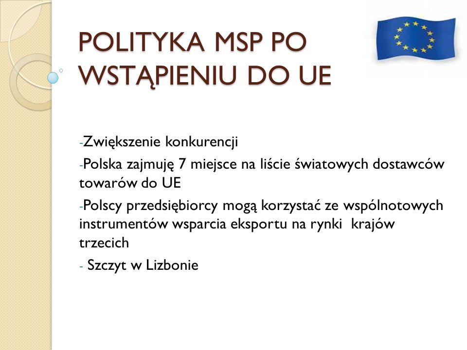 POLITYKA MSP PO WSTĄPIENIU DO UE
