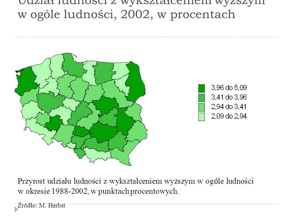 Udział ludności z wykształceniem wyższym w ogóle ludności, 2002, w procentach