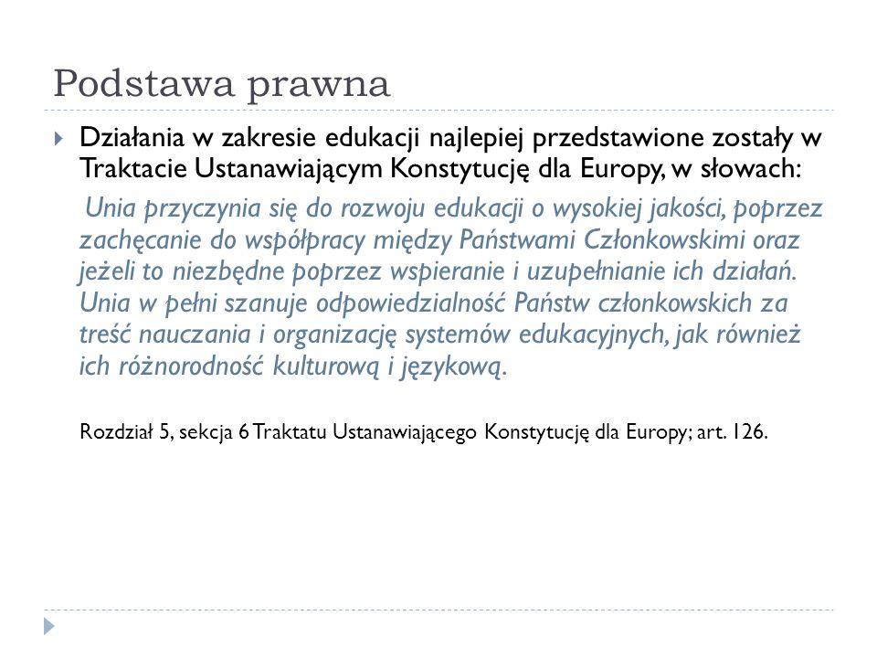 Podstawa prawna Działania w zakresie edukacji najlepiej przedstawione zostały w Traktacie Ustanawiającym Konstytucję dla Europy, w słowach: