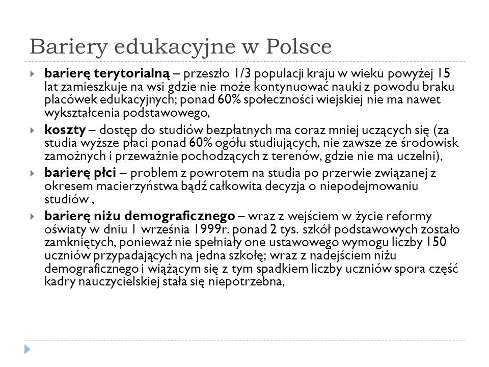 Bariery edukacyjne w Polsce