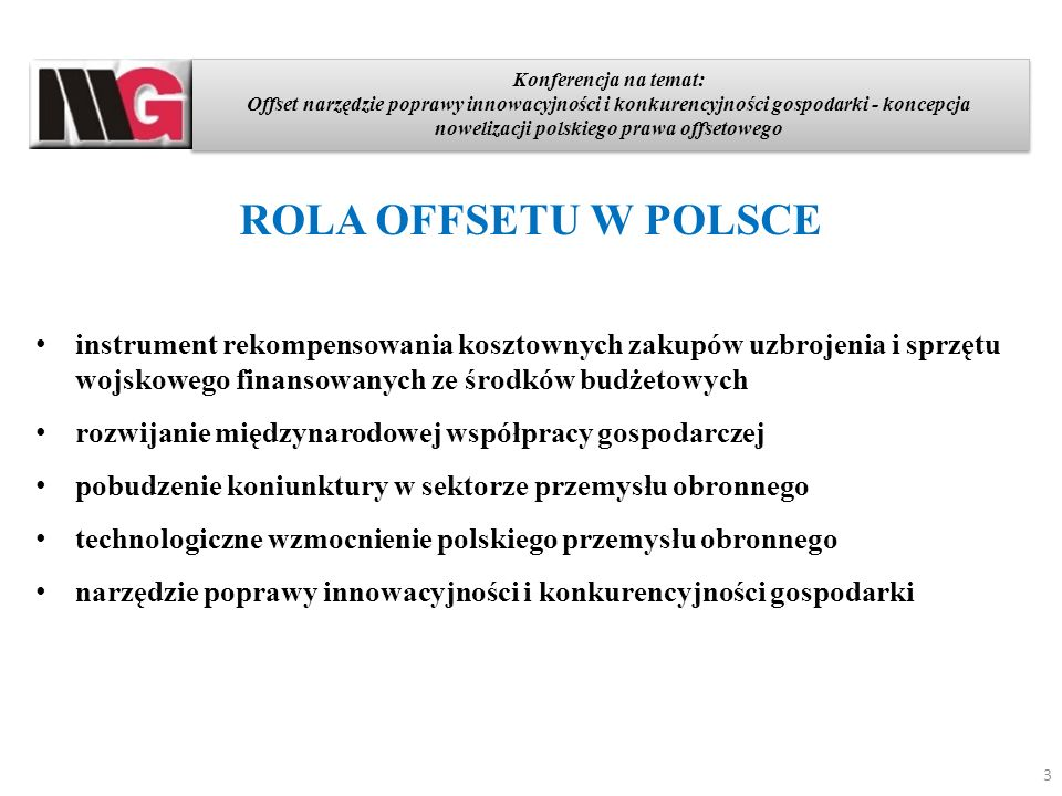 Konferencja na temat: Offset narzędzie poprawy innowacyjności i konkurencyjności gospodarki - koncepcja nowelizacji polskiego prawa offsetowego