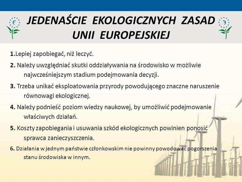 JEDENAŚCIE EKOLOGICZNYCH ZASAD UNII EUROPEJSKIEJ
